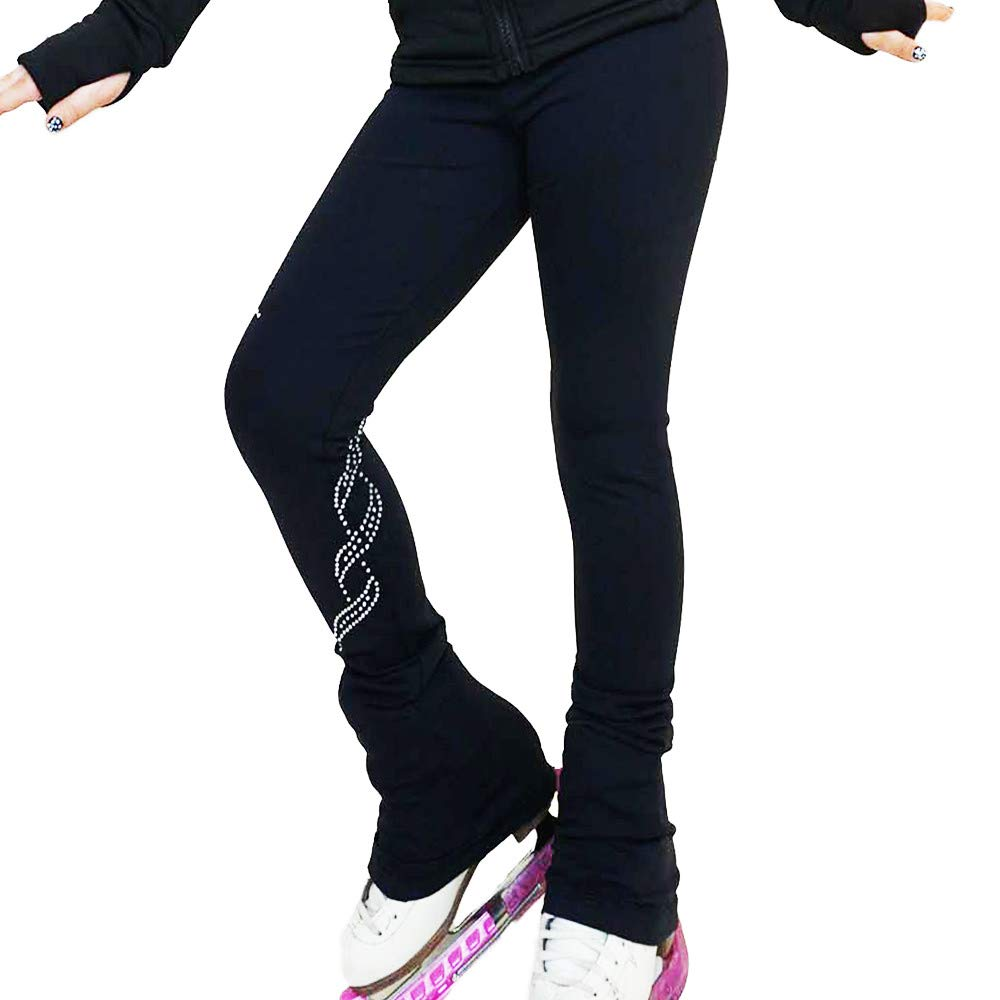 Green Rhinestone Victoria's Challenge Ice Skating Pants Pink Purple bluee Spiral Polartec   Thermal   Compression VCSP39