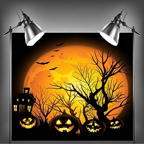 7x5FT Dusk Black Pumpkin Lamp Theme Photography Backdrop Studio Prop Halloween Background Decoration -