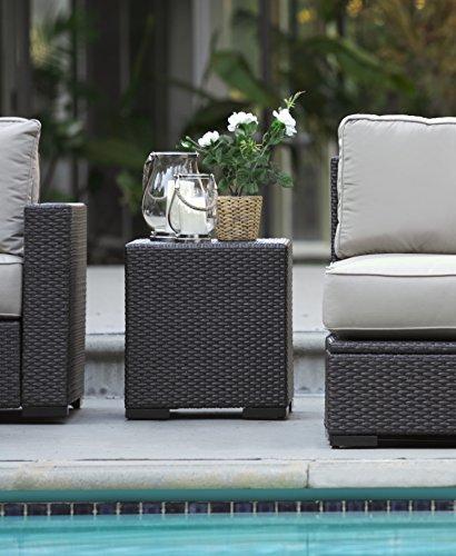 Serta Laguna Outdoor Storage Side Table Wicker, Brown