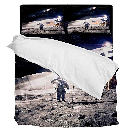 Fantasy Star Comforter Bedding Set Outerine Space American NASA Moon Landing Home Decoration 4 Piece Duvet Cover Set Include 1 Flat Sheet 1 Duvet Cover and 2 Pillow Cases Queen Size