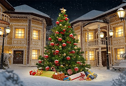 OFILA Christmas Backdrop 8x7ft New Year Photography Background Winter Snow Xmas Tree Decoration Festival Celebration New Year Party Photos Adult Shoots Video Studio Props by OFILA