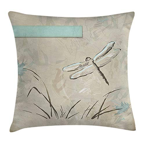 (Asefcnxkjii Dragonfly Throw Pillow Cushion Cover, Romantic Vintage Sketch in Pastel Grass Birthday Grunge Grass Botany Artwork, Decorative Square Accent Pillow Case, 18 X 18 Inches, Seafoam Tan)