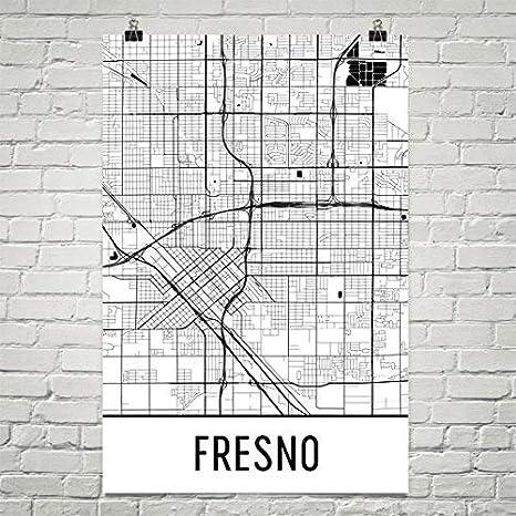 Amazon Com Modern Map Art Fresno Poster Fresno Art Print Fresno Wall Art Fresno Map Fresno City Map Fresno California City Map Art Fresno Gift Fresno Decor 12 X 18 White And Black