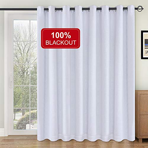 Rose Home Fashion RHF 100% Blackout,Patio Door Curtains,Sliding Door Curtains,Linen Look,Wide Thermal Blackout Curtains,Grommet Curtains,Extra Wide Curtains for Sliding Glass Door-1Panel,100x84 White (For Doors Patio Draperies)