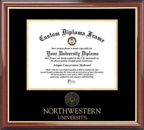 Diploma Frame Embossed Seal Laminated Visuals Northwestern University Wildcats Mahogany Gold Trim