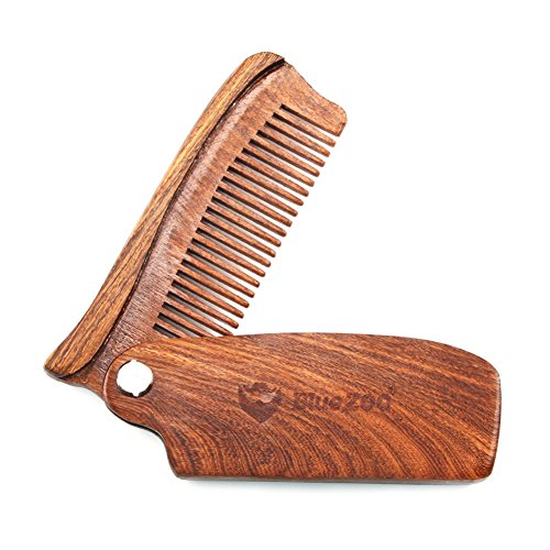 Blue ZOO Folding Wooden Comb – Men's Hair, Beard and Mustache Styling Comb with PU Leather Bag – Pocket Sized, Durable, Anti-Static Sandalwood Comb for Every Day Grooming