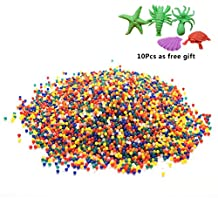 WENHAI 20000Pcs Water Gel Beads Jelly Water Pearl Water Beads for Vase Filler Wedding Decoration Children Water Toy + 10 Pcs Water Growing Aniamls