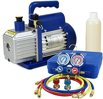 F2C 3 5CFM 1/4HP HVAC Air Vacuum Pump Kit with/AC Refrigeration Gauge