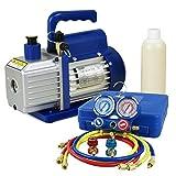 F2C 3.5CFM 1/4HP HVAC Air Vacuum Pump Kit With/ AC Refrigeration Gauge(3.5CFM&Manifold Gauge)