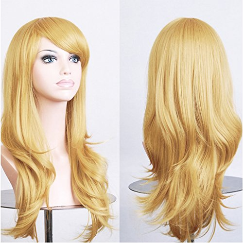 Long Layered Curly Wavy Cosplay Synthetic Wig Blonde Japanese Kanekalon Heat Resistant Fiber Anime Full Wig with Bangs 23'' / 58cm+Stretchable Elastic Wig Net for Women Girls(golden (Anime Girl Dress Up Games For Adults)