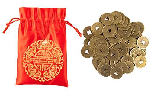 Juvale Feng Shui Coins - 100 Piece with Red ()