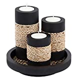 IYARA CRAFT Natural Candle scape Set, 3 Decorative Candle Holders, Wood Tray(Rope) Review