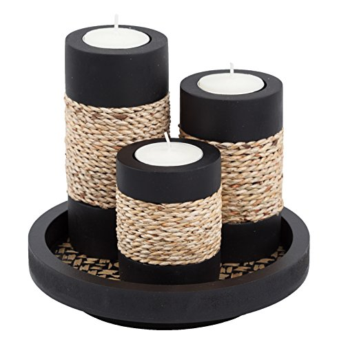 IYARA CRAFT Natural Candle scape Set, 3 Decorative Candle Holders, Wood Tray(Rope) by IYARA CRAFT