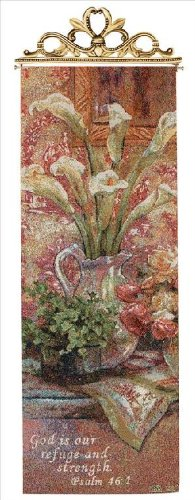Liu Tapestry Throw (Manual Inspirational Collection Hanging Wall Panel with Verse, Les Fleur D'Amour by Lena Liu, 13 X 36.5-Inch)