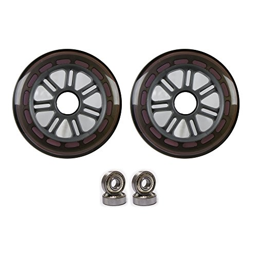 100mm 88a Replacement Wheels 2 Pack for Razor Kick Scooter PURPLE/SIL by Kick Push