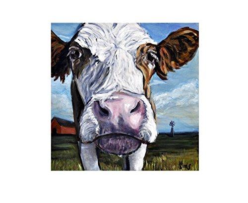 Cow Artwork Print Farm Animal Farmhouse Kitchen Wall Art Decor 8x8 inch Mats to Fit 11x14 - Pictures Kitchen Western