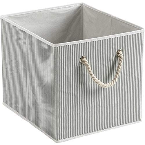 Better Homes and Gardens Collapsible Fabric Storage Cube - Gray Stripe with Rope Handle