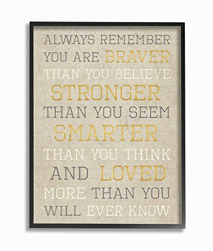 Stupell Home Décor Always Remember Braver Stronger Smarter Loved Oversized Framed Giclee Texturized Art, 16 x 1.5 x 20, Proudly Made in USA