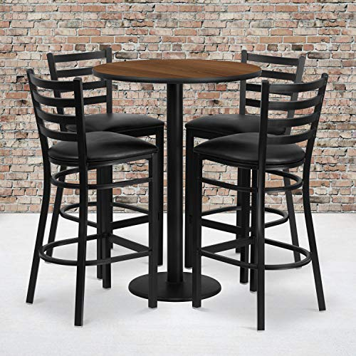Flash Furniture 30'' Round Walnut Laminate Table Set with 4 Ladder Back Metal Barstools - Black Vinyl Seat Black Gathering Table Set