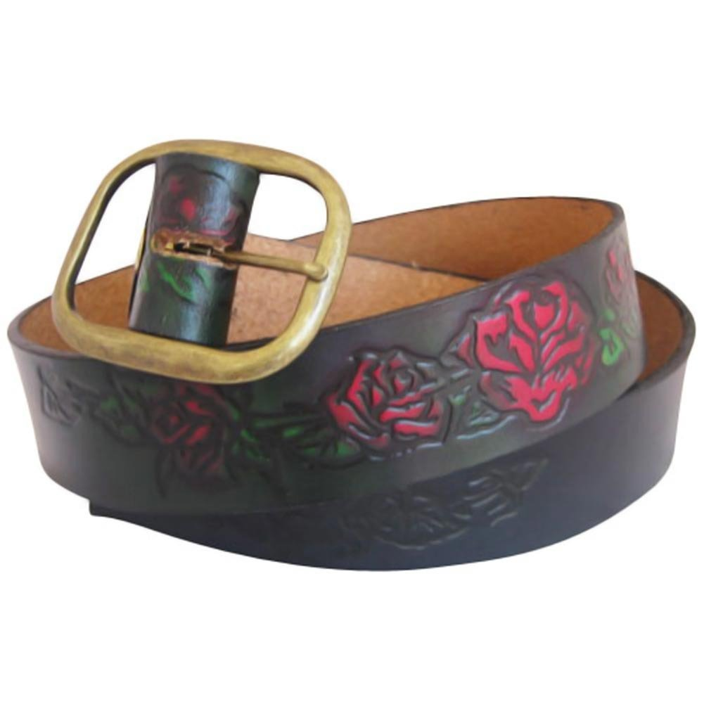 Embossed Roses Brown Genuine Tooled Leather Interchangeable Belt Strap STRAP ONLY Complimentary Buckle to all  Orders