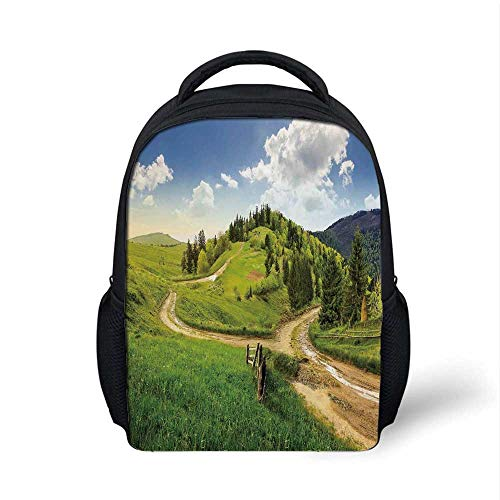 Landscape Stylish Backpack,Hillside Meadow Cloudy Sky Fence Near the Cross Road with Fir Trees on Both Sides for School Travel,9.4