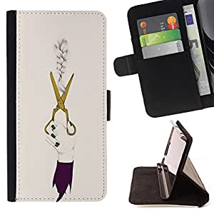 - scissors designer clothing dress fashion - - Prima caja de la PU billetera de cuero con ranuras para tarjetas, efectivo desmontable correa para l Funny HouseFOR Samsung Galaxy S5 Mini, SM-G800