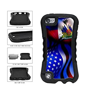 Haiti and USA Mixed Flag 2-Piece Dual Layer Phone Case Back Cover Apple iPod Touch 5th Generation