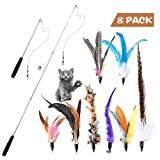 Cat Feather Toys, Horuhue 9 Pack Retractable Cat Wand Toys Interactive Cat Tease Toys with 8 Replacement Beads Bells and Feather Refills Set for Cat and Kitten