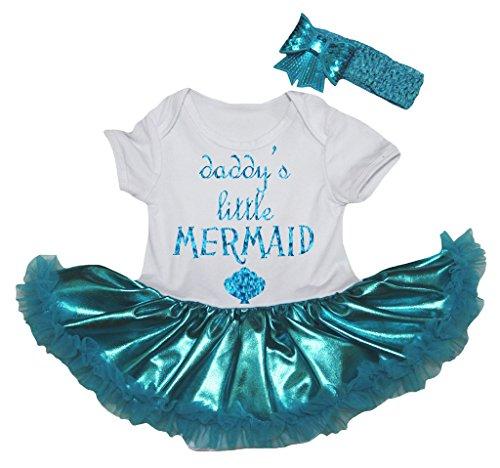 [Petitebella Daddy's Little Mermaid White Bodysuit Peacock Blue Tutu Nb-18m (12-18 Months)] (Little Mermaid Tutu Dress)