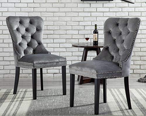 CIMOTA Velvet Upholstered Dining Chair Comfortable Tufted Chair Set of 2 Modern Armless Chair