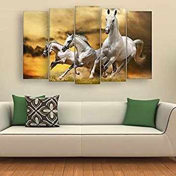 Inephos Multiple Frames Beautiful Running Horses Vastu Wall Painting For Living Room Bedroom Office Hotels Drawing Room 150cm X 76cm Amazon In Home Kitchen