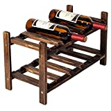 Freestanding 2 Tier Rustic Wood Wine Storage Rack, Counter Top Display Holder, Dark Brown