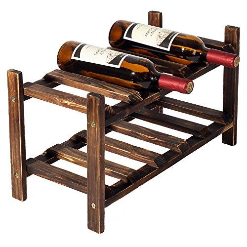 2 Tier Rustic Wood Wine 10 Bottles Stackable Storage Rack, Freestanding Holder Display Stand, Dark Brown (Dark Wood Wine Rack)