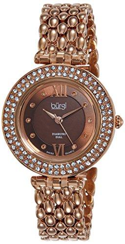 Burgi Women's BUR126RG Diamond & Crystal Accented Mother-of-Pearl Swiss Quartz Rose Gold Bracelet Watch