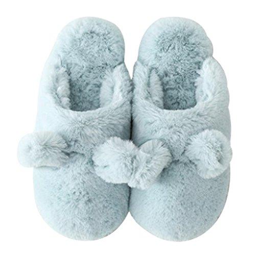 Cattior Womens Fleece Cute House Indoor Slippers Warm Fluffy Slippers Blue TjuwSCxwT