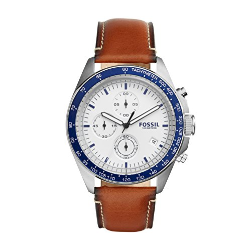 Mens Chronograph Brown Leather (Fossil Men's CH3029 Sport 54 Chronograph Brown Leather Watch)