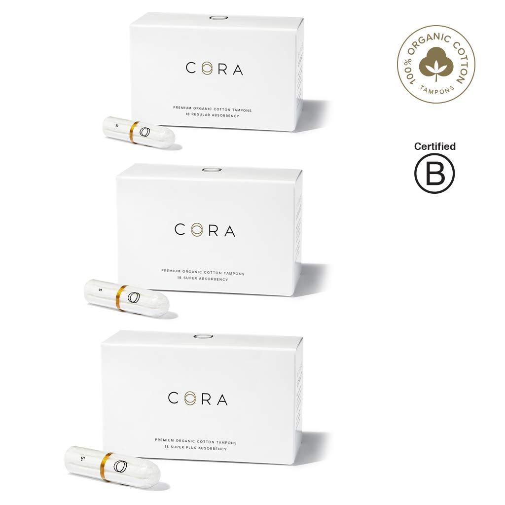 Cora Organic Cotton Non-Applicator Tampons; Chlorine & Toxin Free - Variety Pack - Regular/Super/Super Plus (54 Count) by Cora