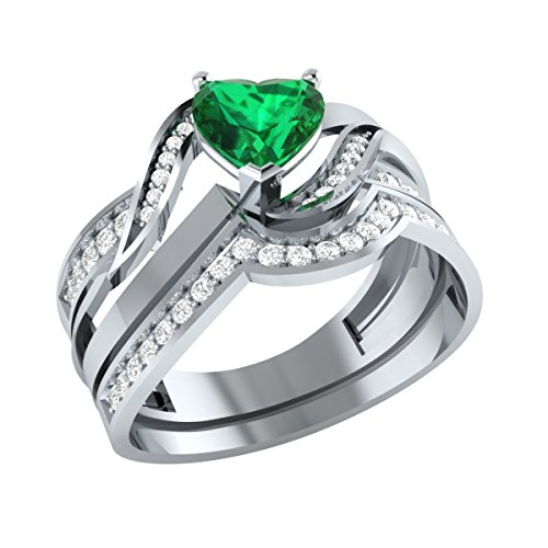 (Demira Jewels Heart Shape Engagement Wedding Ring Set in Solid 925 Silver W/Diamond Accent Simulated Emerald 8)