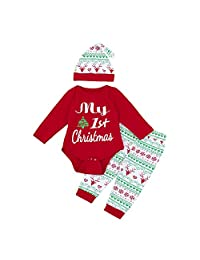 Newborn Girls Clothes Set ML_Victor Baby My First Christmas Romper Tops Pants Leggings Hat Set Long Sleeve Winter Clothing 3Pcs Christmas Outfits Set