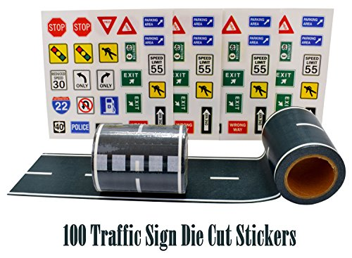Fun Road Tape for Car Toys, 2 Rolls of 33x2.4, BONUS 100 Die Cut Traffic Sign Stickers for Playing and Learning, Perfect to Keep Your Kids Away from Screens, Develop Their Imagination and Memory