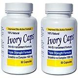 Paquet de 2 Ivory Caps blanchir la peau Max glutathion 1500 mg comprimés Pill Ivorycaps, unisexe