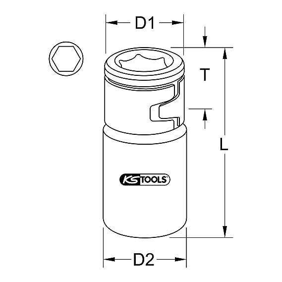 Outils à main KS tools 1/4 bit-Adaptateur-Douille pour 1/4 bits avec spannring 911.4327