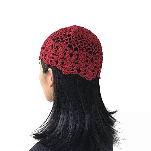 (Handmade Crochet Red Beanie Hats for Women Flower Cotton Knitted Skull Beanies Cap Girls Ladies (red))