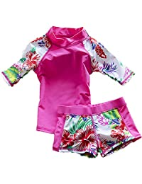 Baby Girls Kids Toddler Two Piece Round-Neck Rash Guard UV Sun Protection Swimsuit