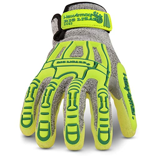 HexArmor Rig Lizard Thin Lizzie 2092 Impact Work Gloves with Sandy Nitrile Coated Palm