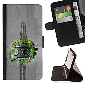 DEVIL CASE - FOR Samsung Galaxy Note 3 III - Abstract Grass Speakers - Style PU Leather Case Wallet Flip Stand Flap Closure Cover