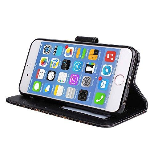 iPhone 5/5S/SE Brieftache,Flip Handyhülle für iPhone 5-5S-SE, Aeeque iPhone 5 5S SE [Einzigartig Palme Blumen Augen] Kartenfach Standfunktion mit Abnehmbar Handy Lanyard und Weich Silikon Innere Schal Mandala Muster Schwarz