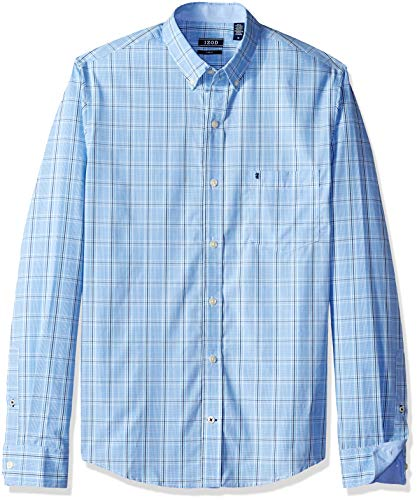 IZOD Men's Premium Performance Natural Stretch Check Long Sleeve Shirt (Regular and Slim -