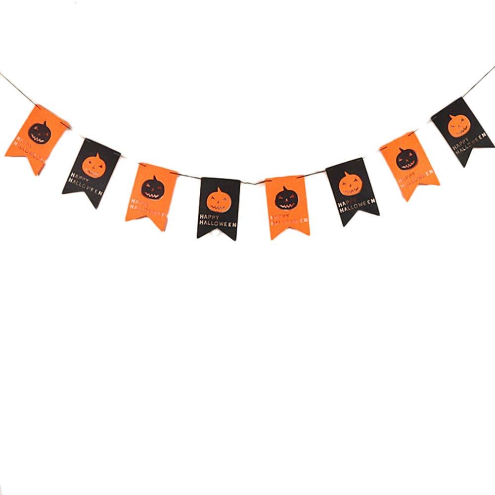 Mackur Citrouille d'halloween Bannière Banderole Drapeaux avec 8Cartes de Drapeaux Décorations à Suspendre fanions fête d'halloween Décoration d'événement Fournitures 1pièce.