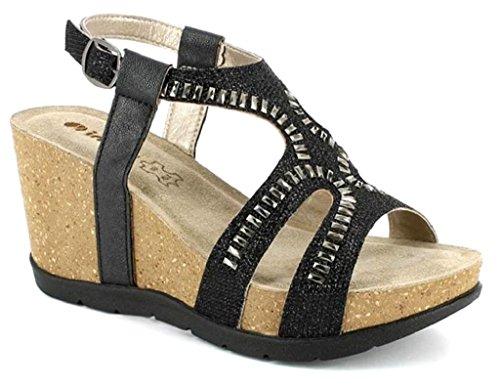 pour 37 Noir Sandales EU Noir Inblu Femme XxB5anH